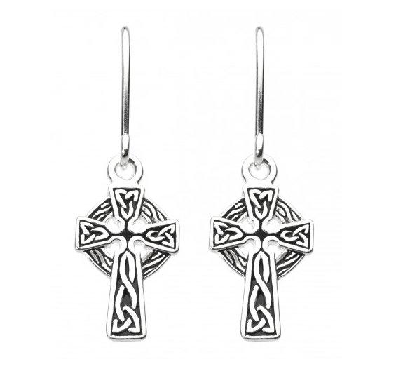 Celtic Silver Celtic Cross Drop Earrings