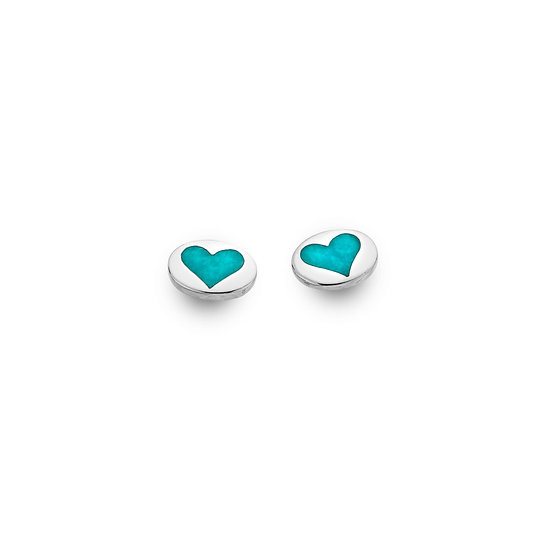 Heart Stud earrings with Pink Mother of Pearl or Turquoise