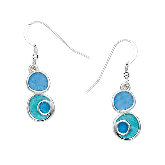 St Justin Glas Mor Lagoon enamelled drop earrings