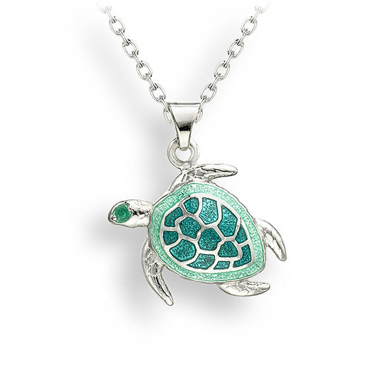 Sterling Silver Sea Turtle Necklace, small