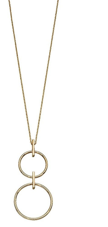 Yellow Gold Double Circle Necklace