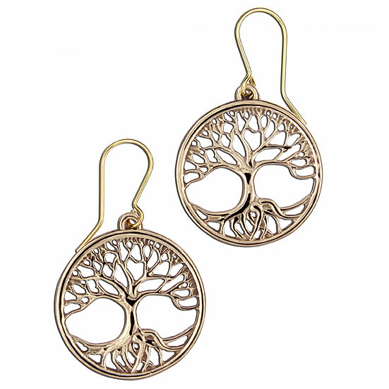 Tree of Life Earrings, Bronze