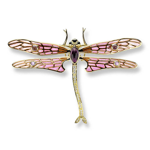 18 Carat Gold Large Pink Dragonfly Brooch with Diamond and Amethyst