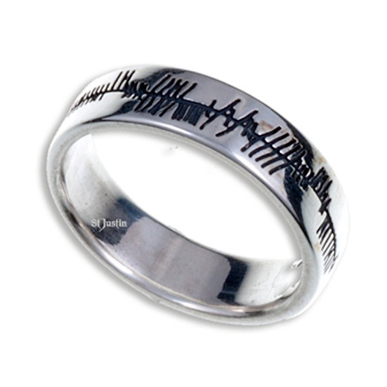 Ogham Love Ring, Silver