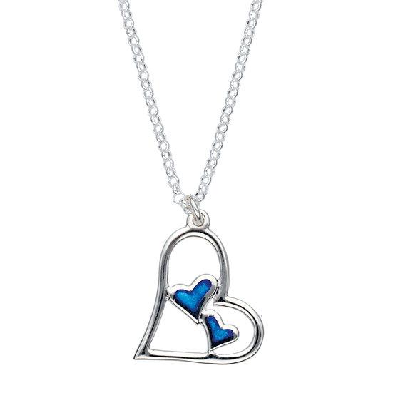 Silver double heart enamelled pendant