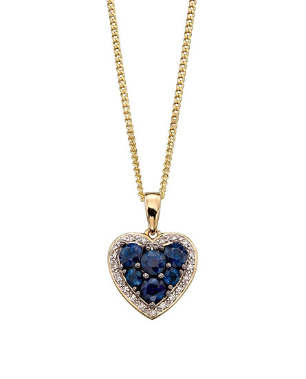 Sapphire and Diamond Heart Pendant, 9ct Gold