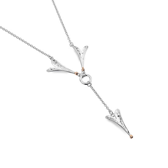 Long Heart Silver Necklace