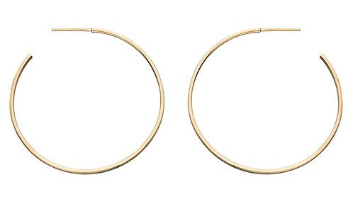 Yellow Gold hoop earrings, 30mm or 40mm