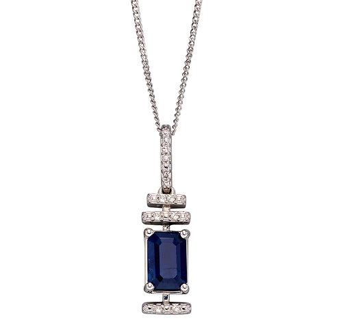 Diamond Deco Pendant with Sapphire
