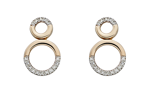 Limited Edition - 9ct Gold and Diamond Circles Stud earrings