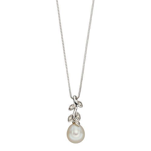 Pearl & Diamond Leaf Pendant in White Gold