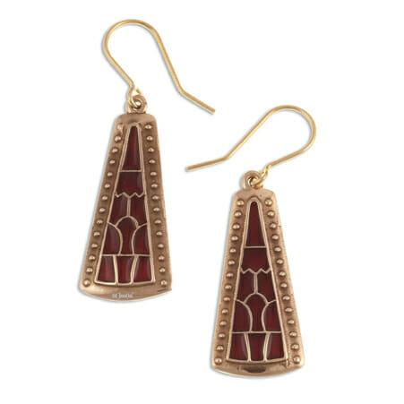 Staffordshire Hoard inspired pyramid drop earrings