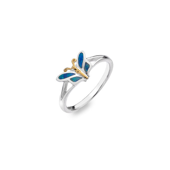 Butterfly Ring with Blue Opalite