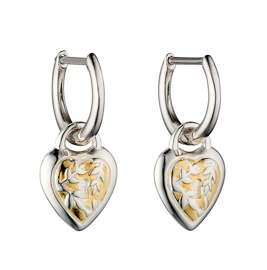 Heart Hoop Earrings With Yellow Gold Plating