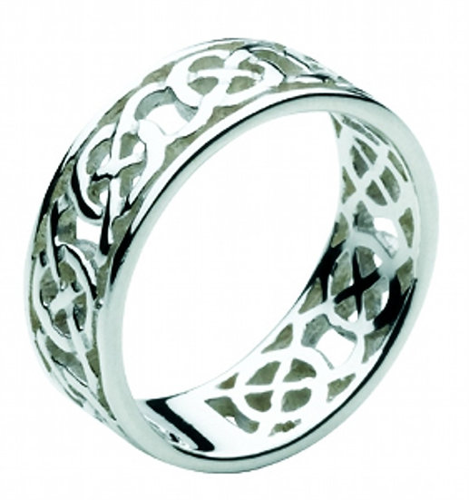 Celtic Silver Agnes Ring, Open Knotwork Edged Band