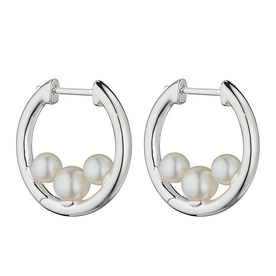 Hoop Earrings with Freshwater Pearl