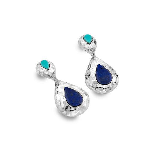 Aqua Earrings, Lapis Lazuli and Turquoise