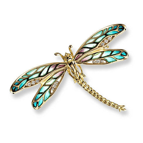 18 Carat Gold Green Dragonfly Brooch with Diamonds