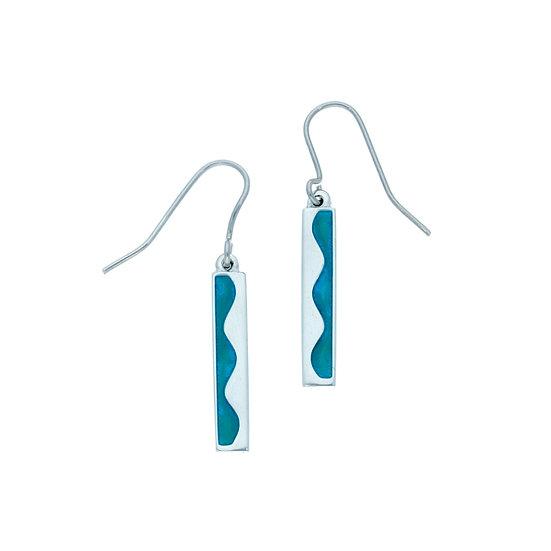Wave drop earrings, pewter