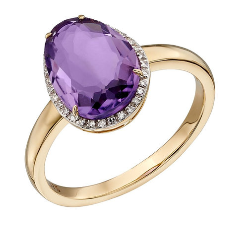 Organic Shaped Amethyst Ring with Diamond, 9ct Gold