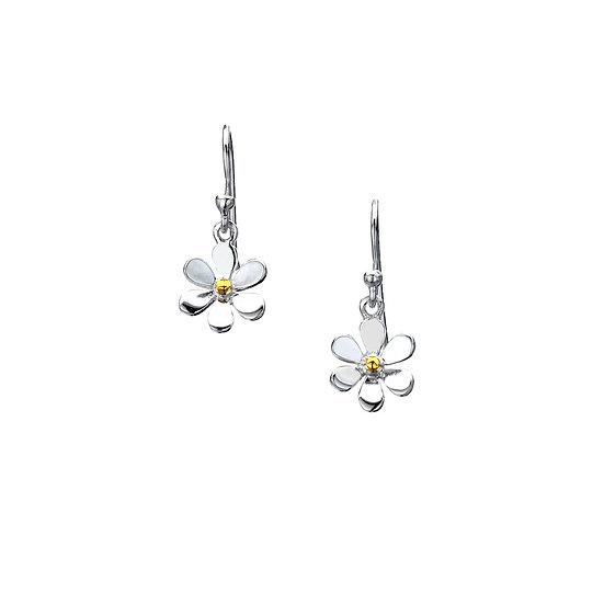 Silver Daisy Earrings with Brass, Studs or Drop Earrings