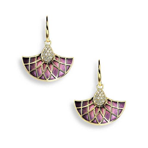18 Carat Gold Purple Art Nouveau Earrings with Diamonds