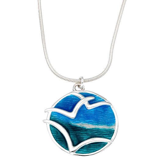 St Justin Glas Mor Mas dhe mor Seagulls enamelled pendant