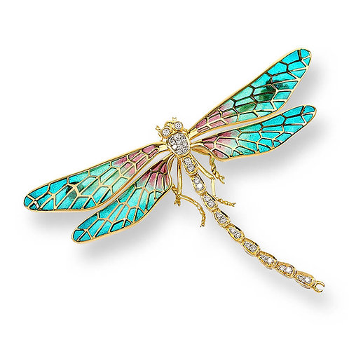 18 Carat Gold Turquoise Dragonfly Brooch with Diamonds