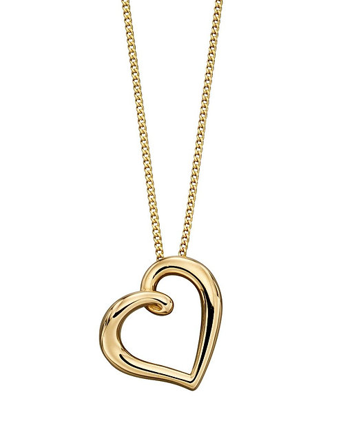 9ct Gold Organic Heart Pendant, Yellow Gold, Rose Gold or White Gold