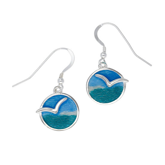 St Justin Glas Mor Mas dhe mor Seagull enamelled earrings
