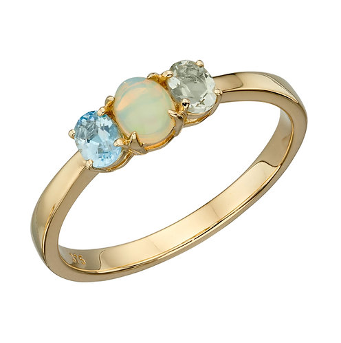 Opal, Blue Topaz and Green Amethyst Ring
