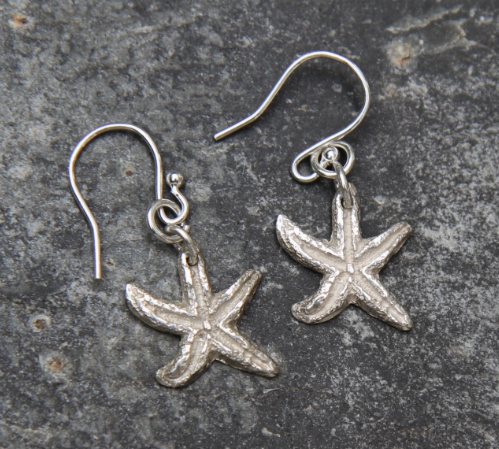Silver Starfish Earrings, Natural Silver