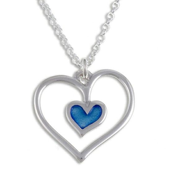 Blue Enamel Silver Heart Pendant
