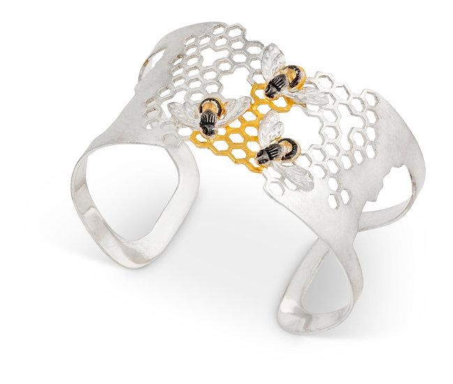 Honeycomb Bee Cuff Bangle