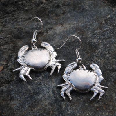 Handmade Crab Earrings, Pewter