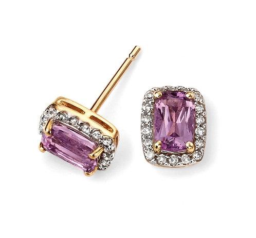 Diamond and Amethyst Stud Earrings
