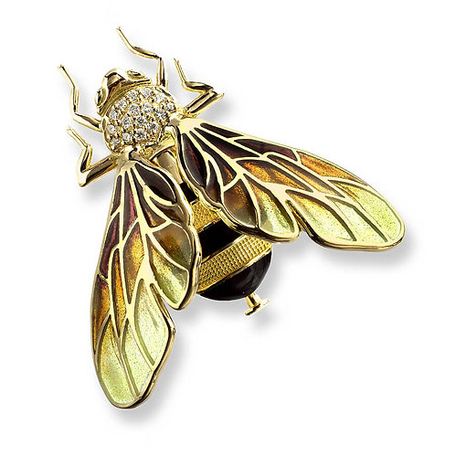 18 Carat Gold Yellow Bee Brooch with Diamonds