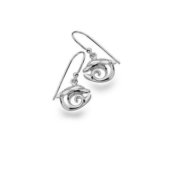 Curved Dolphin Earrings, Silver