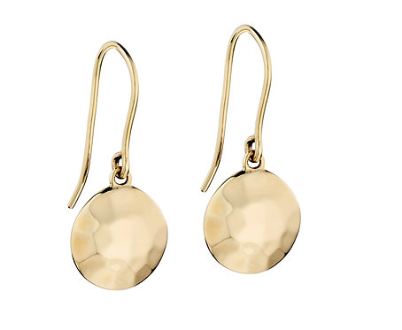 Yellow Gold Hammered Disc Drop Earrings