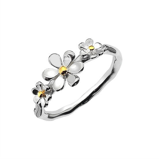 Triple Daisy Ring with brass