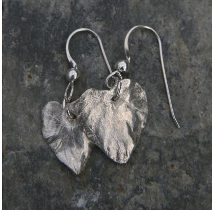 Violet Leaf Heart Earrings, Natural Silver