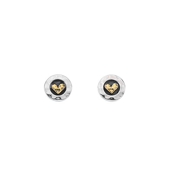 Round Silver Studs with Brass hearts