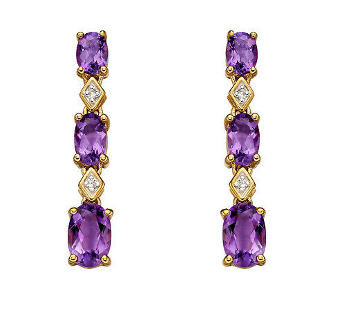 Deco Amethyst and Diamond Stud Earrings