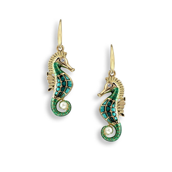 18 Carat Gold Seahorse Wire Earrings, Diamonds and Akoya Pearls, Pink or Blue