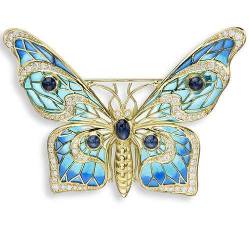 18 Carat Gold Butterfly Brooch with Diamonds & Blue Sapphires