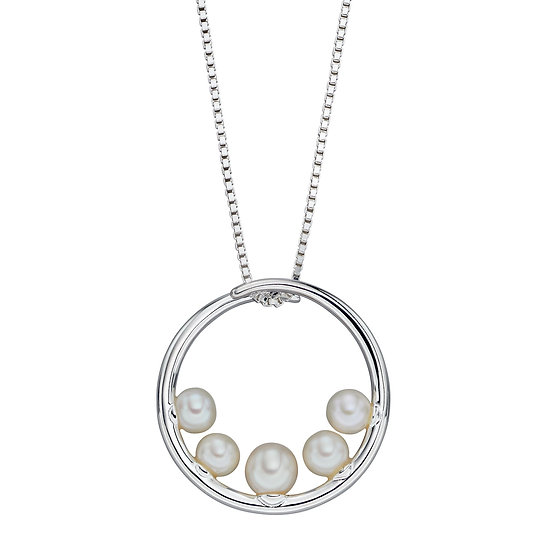 Circular Pendant with Freshwater Pearls