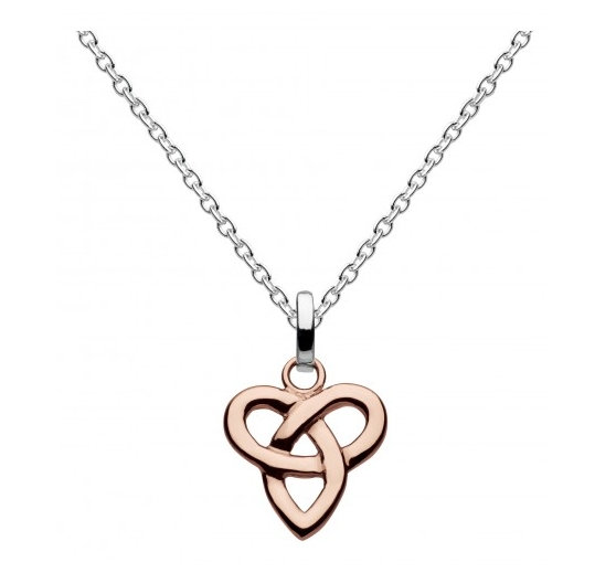 Celtic Silver Niamh Trio Knot Pendant, Silver or Rose Gold plated
