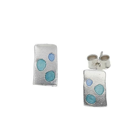 St Justin Glas Mor Cribbar enamelled stud earrings