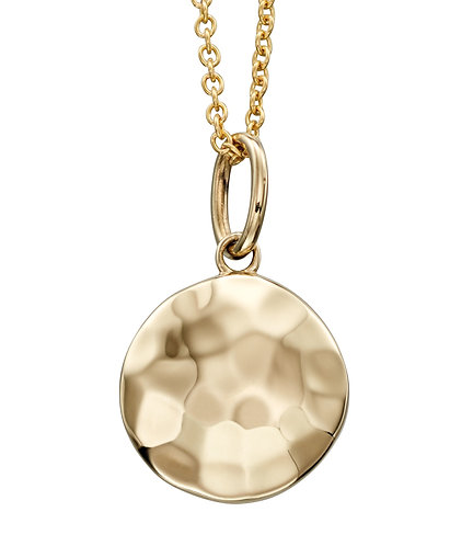 Yellow Gold Hammered Disc Pendant