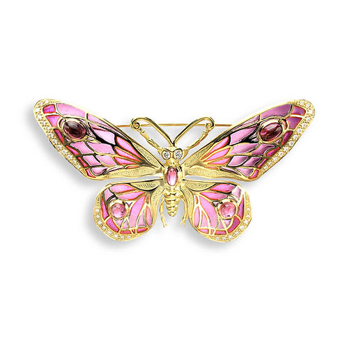 18 Carat Gold Pink Butterfly Brooch, Diamonds and Blue Sapphires